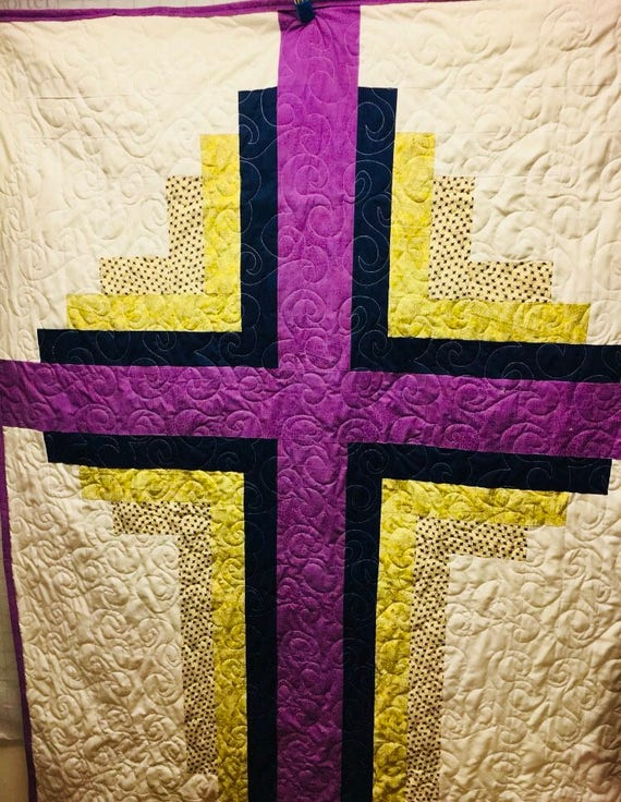 Log cabin cross quilt easter gift christian pastor gift like this item negle Choice Image