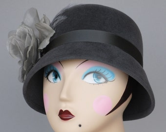 Fur Felt  Women's Winter Hat, Gray Felt Cloche, Handmade Silk and Organza Flower