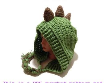 Crochet Dinosaur Pattern, Dinosaur Hood Pattern, Dino Hat Pattern, DIY Halloween Costumes, Spiked Dinosaur Hat Pattern, Hood Pattern, PDF