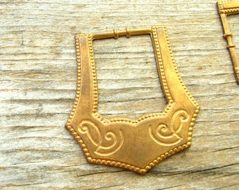 2 Brass Buckle Stampings - Brass Buckles -Etched Buckles - Brass Findings - Brass Stampings - Vintage Brass