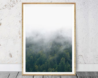 Green Forest Print, Forest Home Decor, Misty Forest Print, Landscape Nature, Fog Landscape, Minimalist Forest, Tree Wall Art, Forest Decor