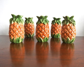 Vintage Ceramic Pineapple Salt and Pepper Shakers - Pineapple Figurines