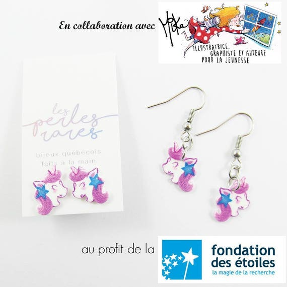 pink unicorn, mika design, blue, star, stud, earring, shrink plastic, foundraising, stainless stud, nickel free, handmade, les perles rares