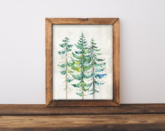 Watercolor Evergreen Trees Printable Art Print 8x10 Forest Printable, Mountain Landscape Wall Art, Digital Download, Cabin Home Decor EVGR