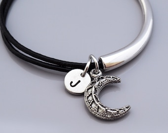 Crescent moon bangle, Crescent moon bracelet, Crescent moon charm jewelry, celestial charm, Leather bracelet, Leather bangle