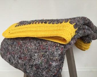 VENTE, jaune couverture crochet, énorme couverture au crochet fait main
