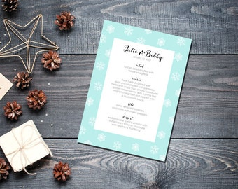 Winter Snowflake Menu Wedding Party Romantic Christmas Mint New Years Eve - Large Snowflakes