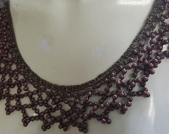 2 tones brown crochet silk thread with pearl beaded gorgeous round