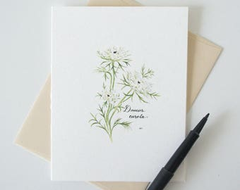 Queen Anne's Lace Blank Notecard - Wildflower Stationery - Botanical Watercolor Print A2 Card