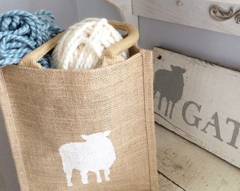 Jute tote bag with stencil of sheep