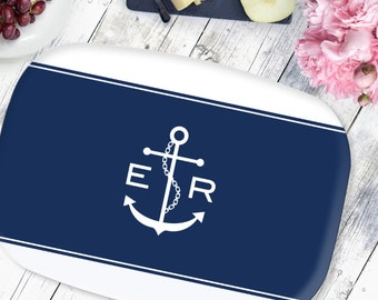 Personalized Platter Nautical Anchor -  Choose your Colors - Coastal Beach House Decor - Anchor Tray