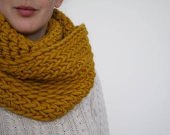 100% Wool Super Chunky Crochet Cowl - Mustard Yellow