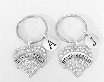 Best Friend Gift, Sister In Christ Keychain Set, BFF Gift, Christian Church Friendship Sisters Initial Keychain, Letter Keychain