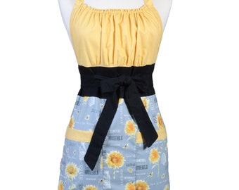 Womens Retro Chef Apron Bees and Honey Gray and Yellow Sunflowers Retro Vintage Inspired Kitchen Cooking Hostess Apron with Pockets