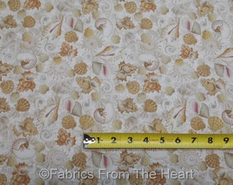 Beach SeaShells Ocean Shells in Tans BY YARDS Timeless Treasure Cotton