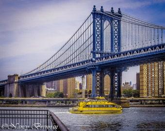 Manhattan Bridge with Water Taxi New York City Skyline