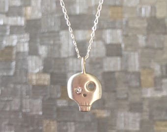 Sterling Silver Skull Necklace with Diamond