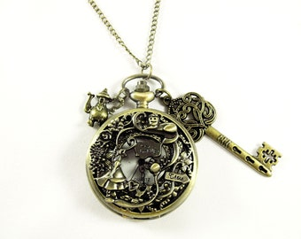 Pocket Watch Necklace Alice in Wonderland Keepsake Bronze with Charms Womens Gift Handmade
