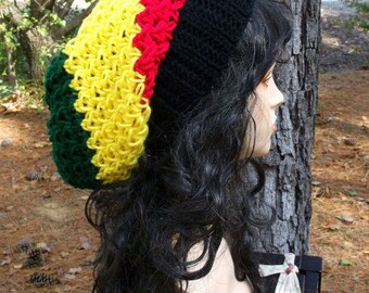 Hand Crochet Slouch Womens Beret, Crochet Tam, Slouchy Hat, Slouchy Beanie, Slouch Beanie, Winter Hat in Black, Red, Yellow and Green