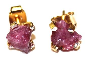 Raw Ruby Stud Earrings Organic Earrings Ruby Jewelry Free Form Earrings July Birthstone Ruby Prong Set Earrings Raw Gemstones