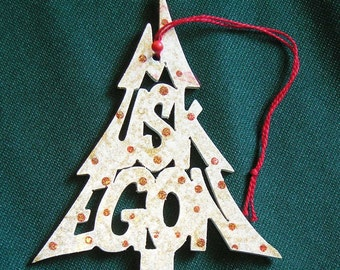Muskegon, handcrafted tree shaped ornament
