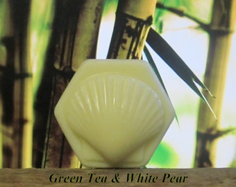 Green Tea and White Pear Organic Solid Lotion Bar  Large 4 oz.