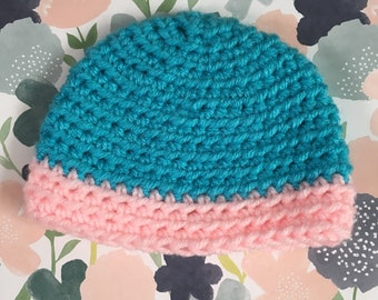 Handmade Crochet Turquoise Preemie Hat with Pink Band
