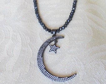 Crystal Beaded Necklace with Crescent Moon and Star Pendant