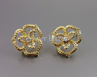 2 Delicate large flower earrings with CZ Cubic Zirconia, gold earrings, earring / jewelry making supplies 1770-BG (bright gold, 2 pieces)