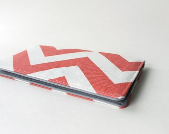 Checkbook Cover in Coral Chevron