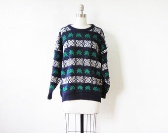 st. patrick's day sweater, vintage shamrock sweater, 1980s Irish sweater, navy + green pullover Ireland knit, medium large unisex sweater