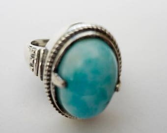 MOTHERS DAY SALE Stunning Genuine Aaa Grade Larimar Ring .925 Sterling Silver  Free U.S. Shipping  U.S. Size 8