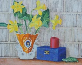 Still Life Painting Original Pastel Wall Art Flowers