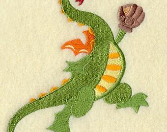BASEBALL DRAGON FUN Sports Creature Machine Embroidered Quilt Square, Art Panel