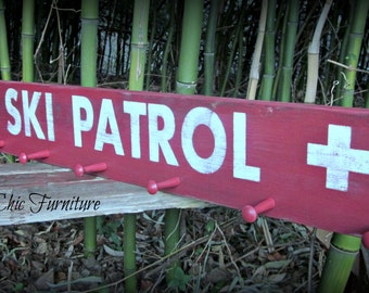 Ski Patrol Sign~Goggle Ski Poles Helmet Holder~Coat Hanger~Towel Rack~Skier Gift