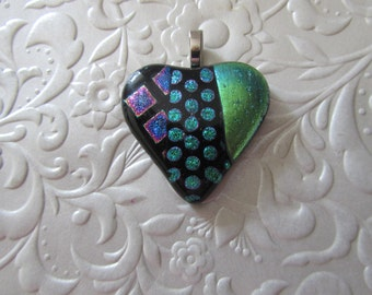 "Fused Dichroic Heart - Fused Dichroic Pendant - Fused Heart Jewelry - Measures 1.5"" x 1.5"""