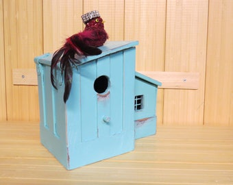 Remote caddy, Father's day, blue birdhouse, gift for him, shabby birdhouse, rustic birdhouse,  man cave caddy, desk organizer