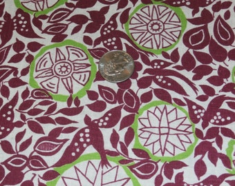 """Vintage Cotton Novelty Full Feedsack Birds and Geometric Designs Wine, Lime Green Quilting 37 1/4"""" x 47"""""""