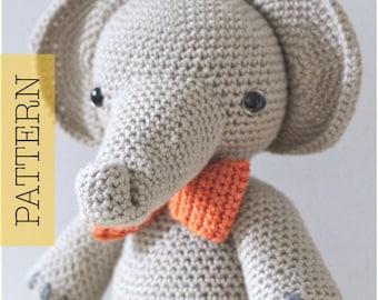 Crochet Amigurumi Elephant PATTERN ONLY, Professor Elbert, pdf Amigurumi Stuffed Toy Pattern