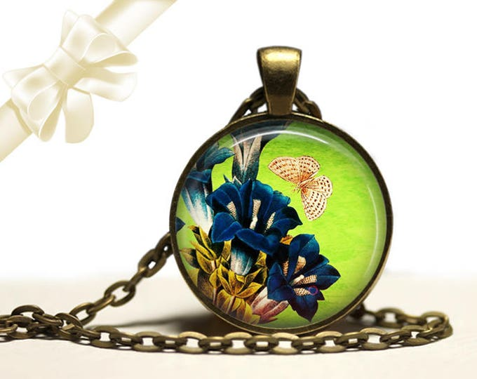 Gentiana Flower Butterfly Necklace brass Pendant Necklace Free Shipping Gifts for her