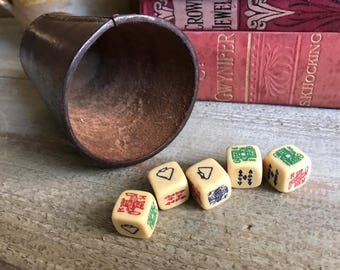English Leather Dice Shaker Cup, 5 Poker Dice, Vintage Games, Pub Games, Man Cave