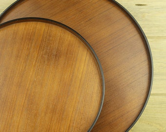 Wooden Round Trays Made in Japan, Wood Serving Platter, Vintage Wood Trays, Wooden Tray, Wood Display Trays, Platters, Kitchenware #18-29