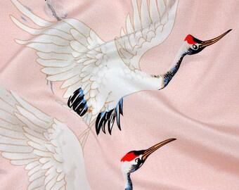 16MM 140cm width 100% muberry silk Red-crowned crane printed crepe de chine by half meter DF018