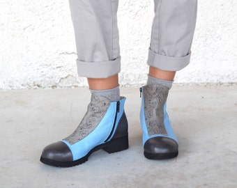Blue ankle boots, Blue boots, ,Blue leather boots Leather woman's shoes, Gray woman's boots, Short boots, Blue flat boots
