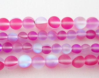 """Matte Frosted Light Pink Beads - Round Moonstone - AB Clear Flashy Fire Matte - Smooth Drilled Beads - 6mm - 16"""" Strand -DIY Summer Jewelry"""