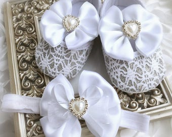 Baby Girl White Silver Lace Satin Bow Christening Baptism Shoes Pearl Heart Rhinestone Headband Set