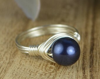 Sale! Midnight Blue Swarovski Crystal Pearl Wrapped Ring-Sterling Silver, Yellow or Rose Gold Filed Wire- Size 4 5 6 7 8 9 10 11 12 13 14