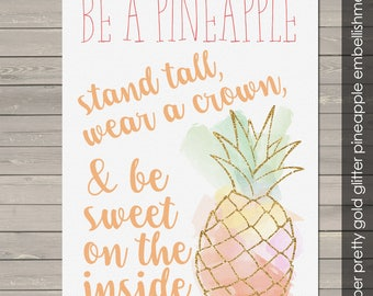 "Be a pineapple stand tall glitter 10"" x 14"" canvas print custom wall art on wood frame BAPC"
