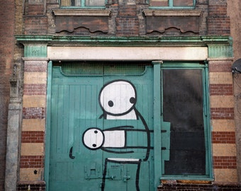 Stik Street Art, Graffiti Photography, London Photo, Fine Art Print, Contemporary Wall Art, Urban Decor, Architecture, sage green, brown