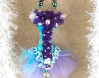 OOAK Ornament Blue Purple Burlesque Corset pearls Gift